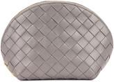Bottega Veneta Leather Woven Cosmetic Case in Concrete & Gold | FWRD