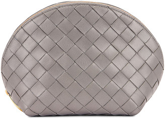 Bottega Veneta Leather Woven Cosmetic Case in Concrete & Gold   FWRD