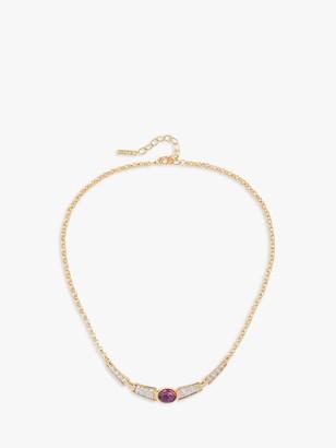 Susan Caplan Vintage D'Orlan 22ct Gold Plated Swarovski Crystal Collar Necklace, Gold/Pink