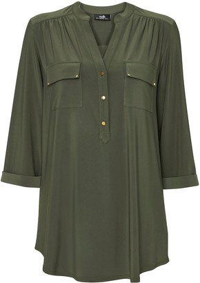 Wallis Khaki Double Pocket Utility Shirt