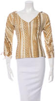 Roberto Cavalli Chain-Link Print Long Sleeve Top