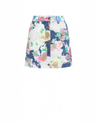 Moschino Painted And Bleached Flowers Denim Miniskirt Woman Multicoloured Size 36 It - (2 Us)