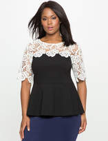 ELOQUII Plus Size Lace Yoke Peplum Top