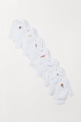 H&M 7-pack Long-sleeved Bodysuits - White