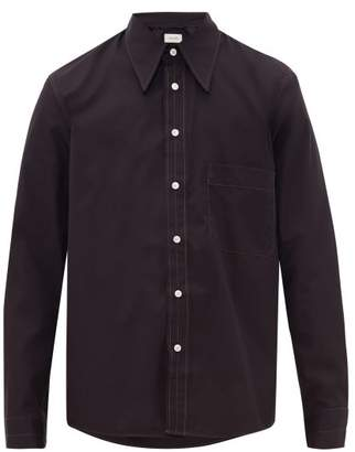 Lemaire Contrast-topstitched Cotton-poplin Shirt - Mens - Navy