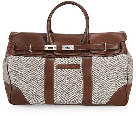 Brunello Cucinelli Chevron Virgin Wool & Leather Travel Bag