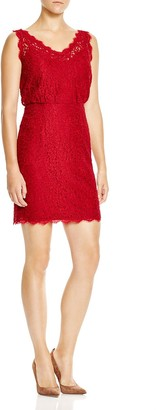 Adrianna Papell Sleeveless Lace Blouson Dress in Crimson Red (4)