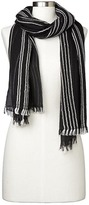 Gap Embroidered stripe fringe-trim scarf
