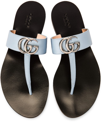 Gucci Marmont Leather Thong Sandals in Porcelain Light Blue | FWRD