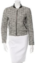 Maje Leather-Accented Patterned Blazer