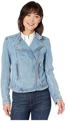 Lauren Ralph Lauren Denim Moto Jacket (Collegiate Indigo Wash) Women's Clothing