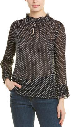 Rebecca Taylor Crinkle Chiffon Silk-Blend Top