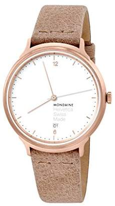 Mondaine Women's Helvetica Stainless Steel Swiss-Quartz Watch with Leather Strap