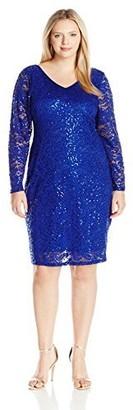 Marina Women's Plus Size Long Sleeve Lace V Neck Dress