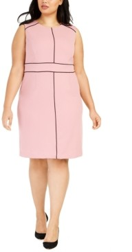 Nine West Plus Size Contrast-Piped Jewel-Neck Sheath Dress