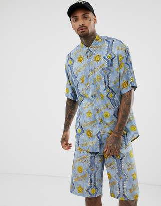 Versace co-ord oversized short sleeve shirt with all over print-Blue