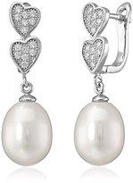Bella Pearl Cubic Zirconia Heart Pearl Drop Earrings