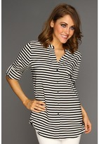 Calvin Klein Striped Crew Roll Sleeve Blouse