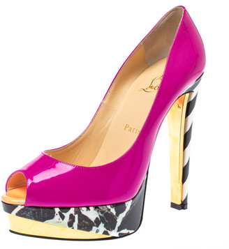 Christian Louboutin Pink Patent Leather Chester Fille Lady Platform Peep Toe Pumps Size 39.5