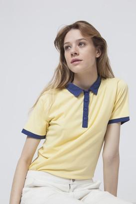 Thinking Mu - Yellow Cotton Contrast Irina Polo Shirt - organic cotton | Size L - Blue/Yellow