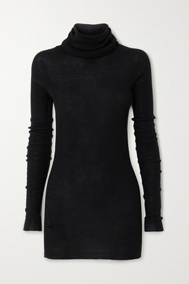 Rick Owens Ribbed Wool Turtleneck Sweater - Black