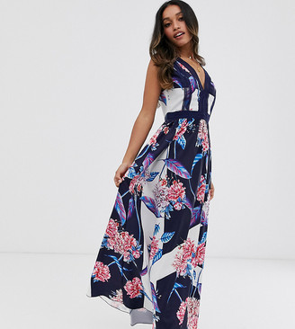 Little Mistress Petite all over floral printed plunge front maxi dress in multi