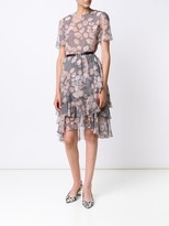 Jason Wu Prince of Wales Floral Print Chiffon Short Sleeve Day Dress With Belt