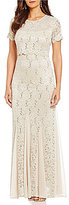 R & M Richards Sequined Lace Popover Gown