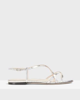 Theory Strappy Flat Sandal in Python Print Leather