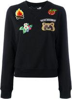 Love Moschino embroidered patch sweatshirt - women - Cotton/Spandex/Elastane - 40