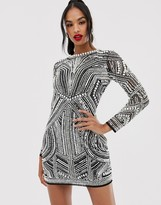 Asos Edition EDITION sequin and pearl mini bodycon dress with cut out back