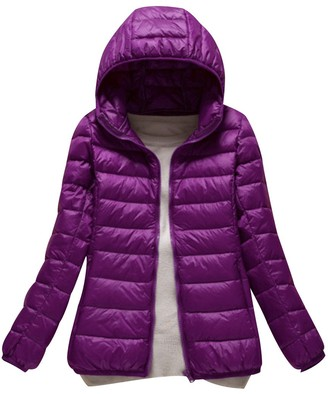 ISSHE Womens Down Puffa Jacket with Hood Women Ladies Winter Hooded Padded Coats Down Puffer Quilted Coat Jackets Bubble Coat Overcoat Women's Parka Lightweight Packable Purple M