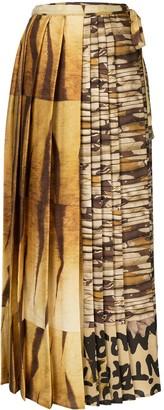 Pierre Louis Mascia Mixed-Print Pleated Skirt