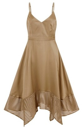 Dorothy Perkins Womens Little Mistress Khaki Satin Hanky Hem Dress, Khaki