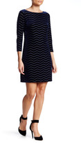 Eliza J Velvet & Mesh Stripe Dress (Petite)