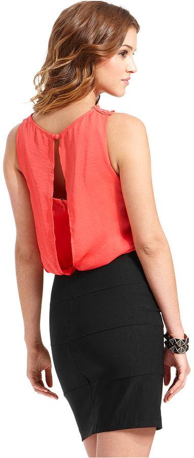 B. Darlin Juniors Dress, Sleeveless Colorblock Bandage Blouson