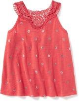 Old Navy High-Neck Crochet-Yoke Swing Top for Toddler Girls