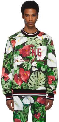 Dolce & Gabbana Green and Black Anthurium Sweatshirt