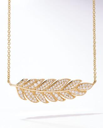 Sydney Evan 14k Large Diamond Feather Pendant Necklace