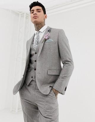 Harry Brown wedding wool blend slim fit summer tweed suit jacket-Gray