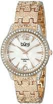 Burgi Women's BUR127RG Diamond & Crystal Accented Mother-of-Pearl Dial Embossed Rose Gold Bracelet Watch