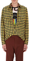 Gucci Men's UFO-Embroidered Plaid Wool-Cotton Shirt