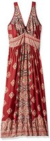Angie Women's Plus Size Red Printed Vneck Adjustable Maxi Dress