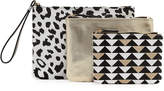 Neiman Marcus Triple Travel Pouch Set, Black/White/Multi