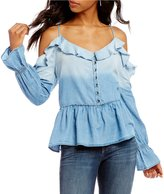 William Rast Wolf Cold-Shoulder Bell Sleeve Peplum Top