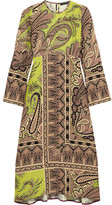 Etro Paisley-print Crepe Midi Dress - Chartreuse