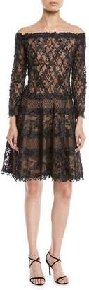 Tadashi Shoji Off-the-Shoulder 3D Lace Dress