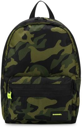 Diesel Mesh Overlay Camouflage Print Backpack