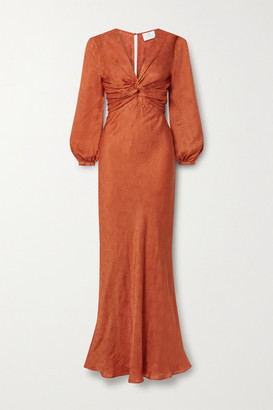 Rebecca De Ravenel Sienna Knotted Silk-satin Jacquard Gown - Bright orange