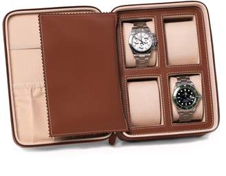 Brown Saddle Leather Four Watch Accessory Case